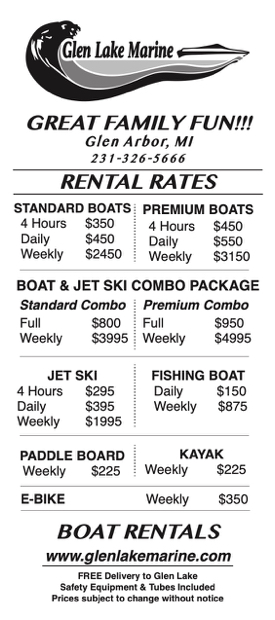 Glen Lake Marine Boat Rentals in Glen Lake Michigan Rate Card